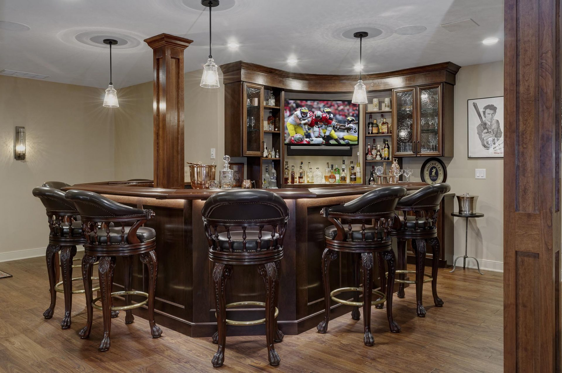 Basement design, Sunbury, Dave Fox, Remodel, bar, wood, wine cellar, stacked stone, fireplace