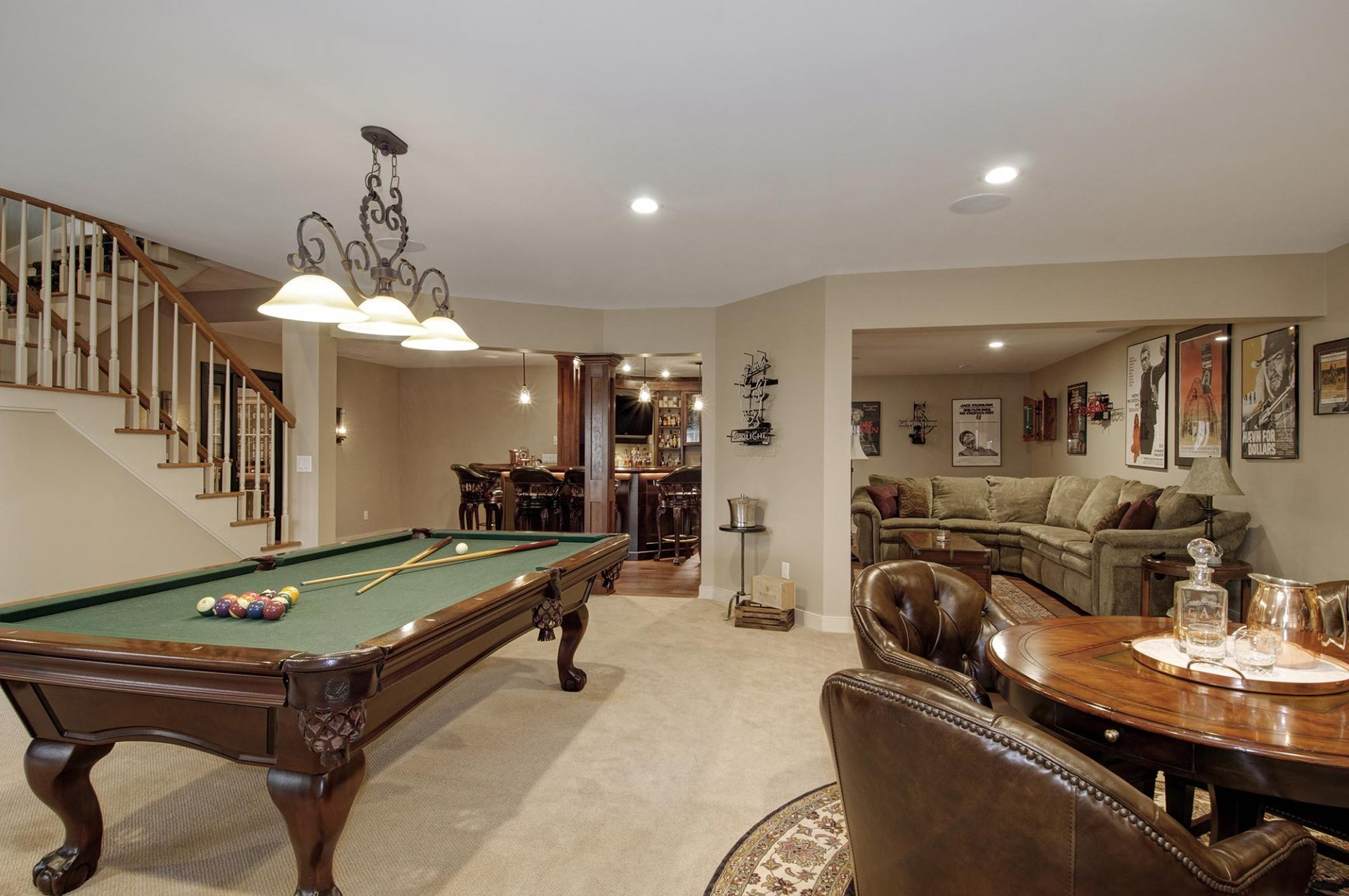 Basement, Sunbury, Dave Fox, Remodel, bar, wood, wine cellar, stacked stone, fireplace
