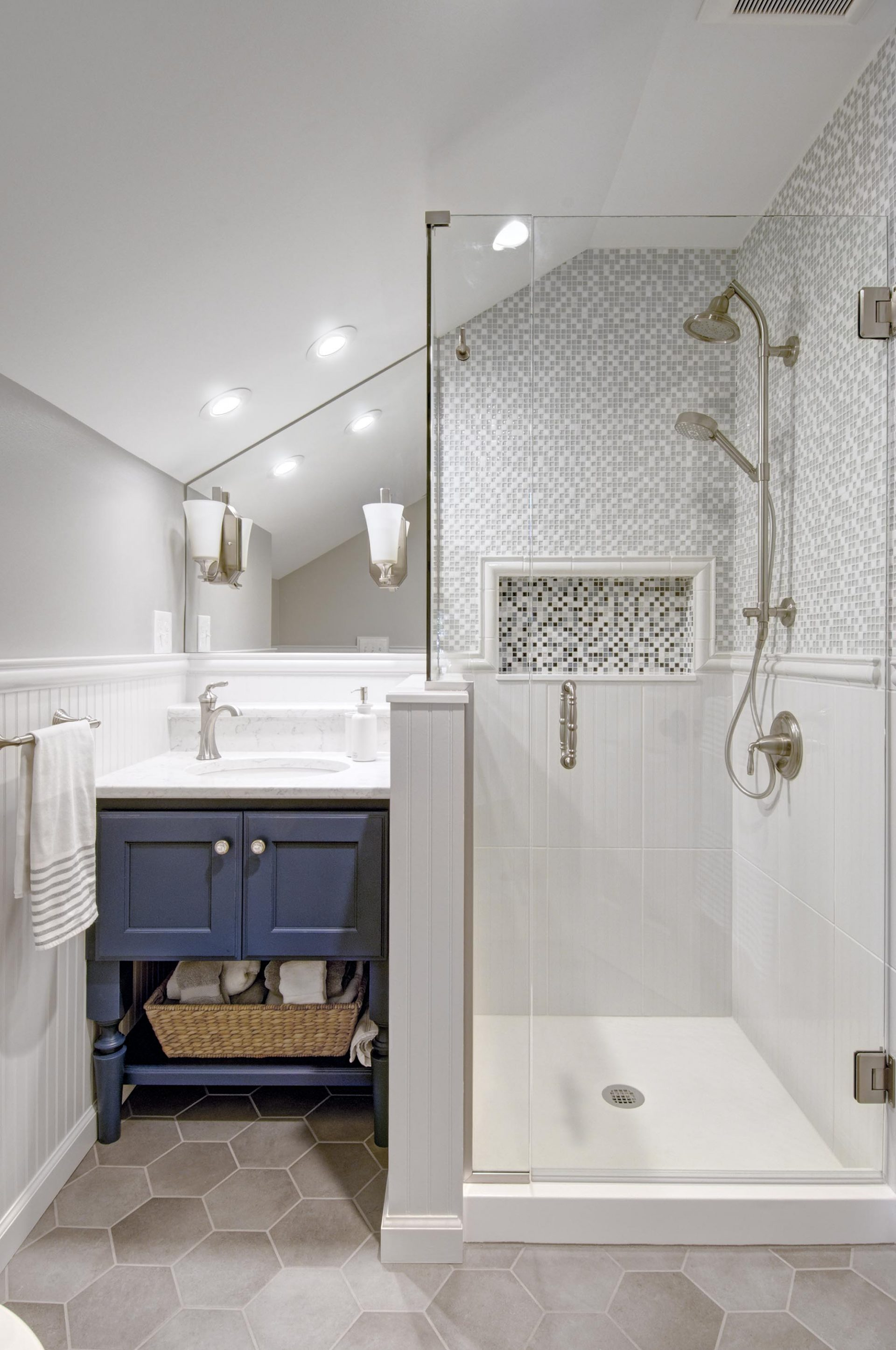 Bath, Dublin, Dave Fox, Remodel, hexagon tile, blue, glass shower, bead board