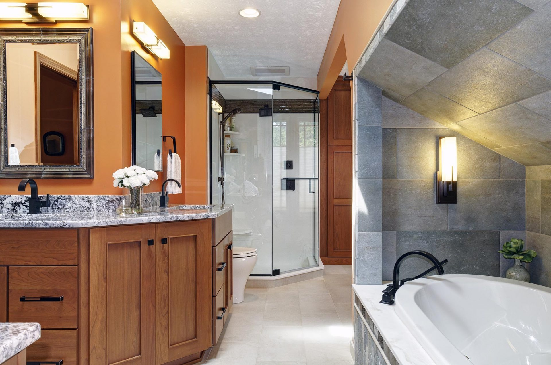 Bath, Gahanna, Dave Fox, Remodel, glass shower, tub, stacked stone