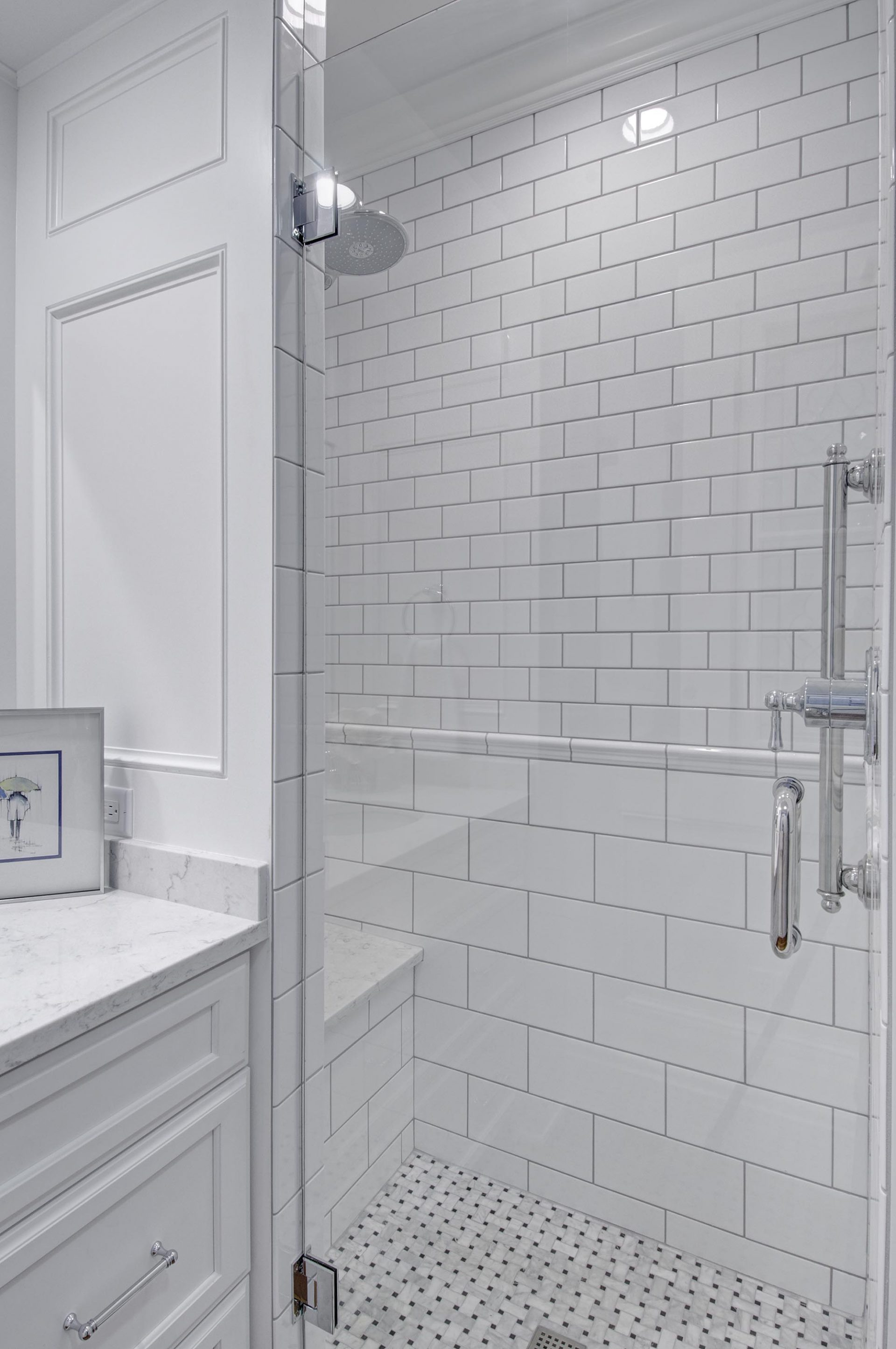 Bath, German Village, Dave Fox, Remodel, subway tile, shower bench, wainscoting