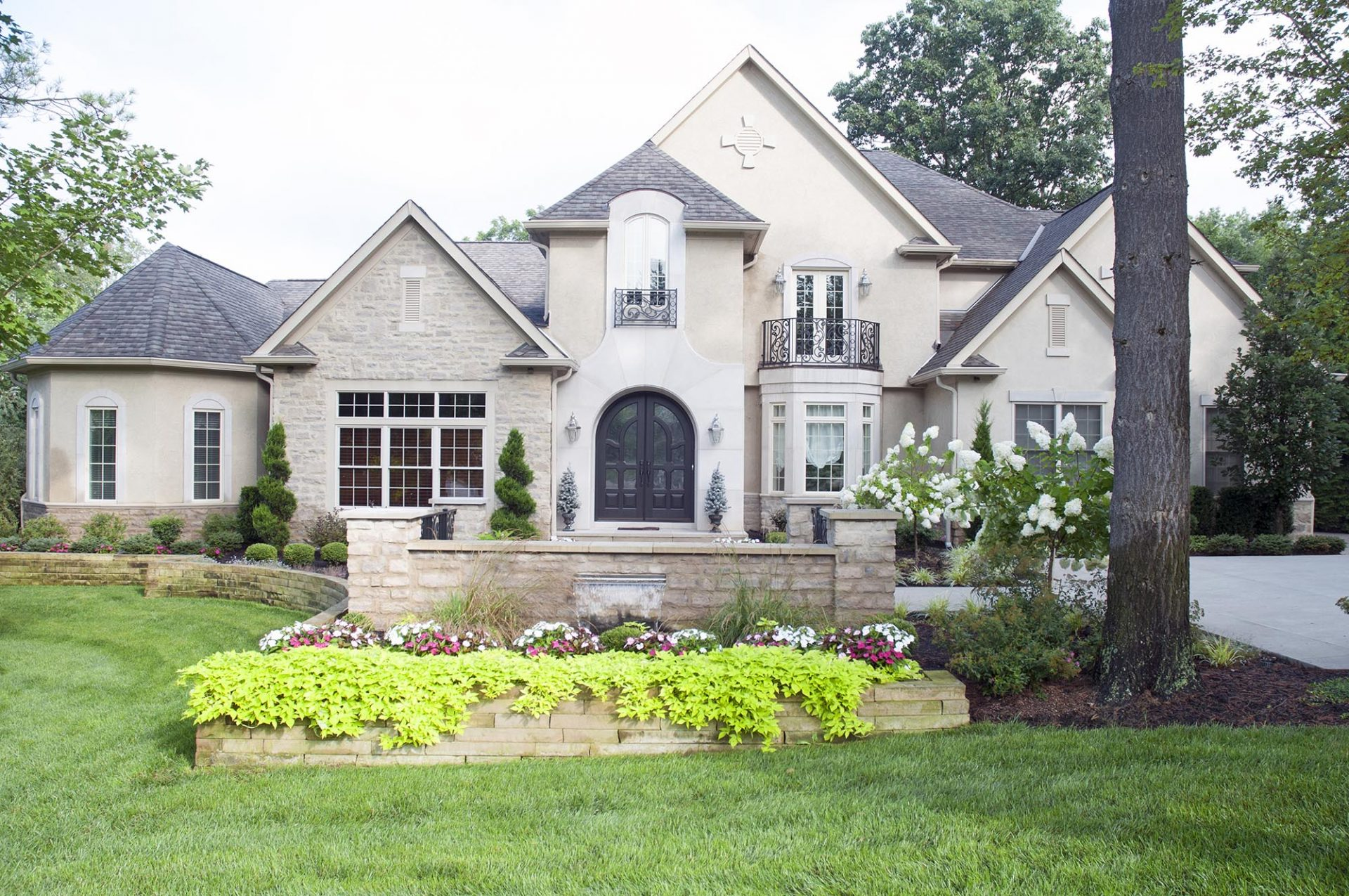 Exterior, Dublin, Dave Fox, Remodel, Landscape, stone, iron railing, French doors