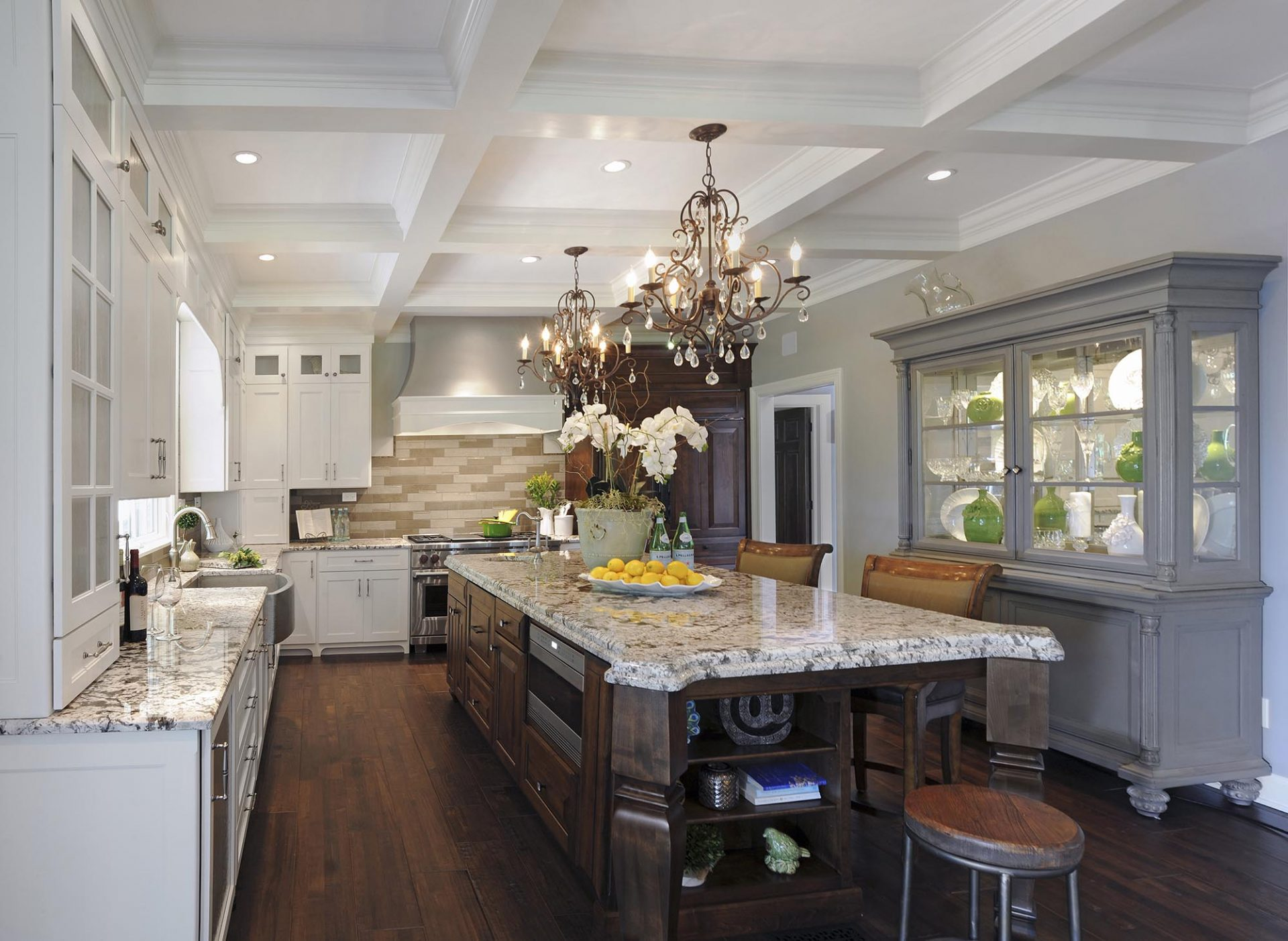 Kitchen renovation, Westerville, Dave Fox, Remodel, storage, oversized island, granite, white cabinets, chandeliers