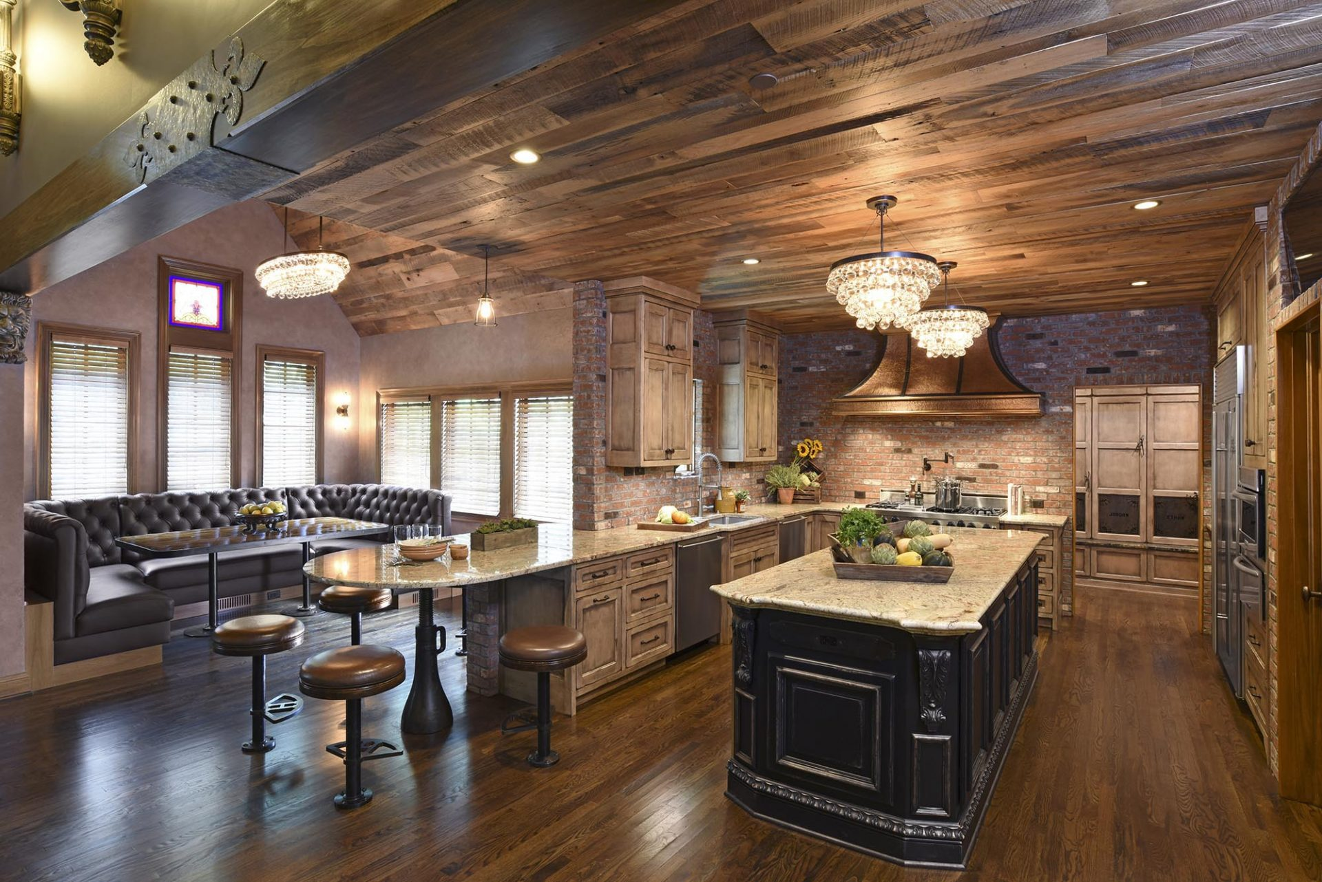 Kitchen remodel, dining, New Albany, Dave Fox, Remodel, wood, brick, rustic, copper, range, island, chandelier, bar stools, wood ceilings