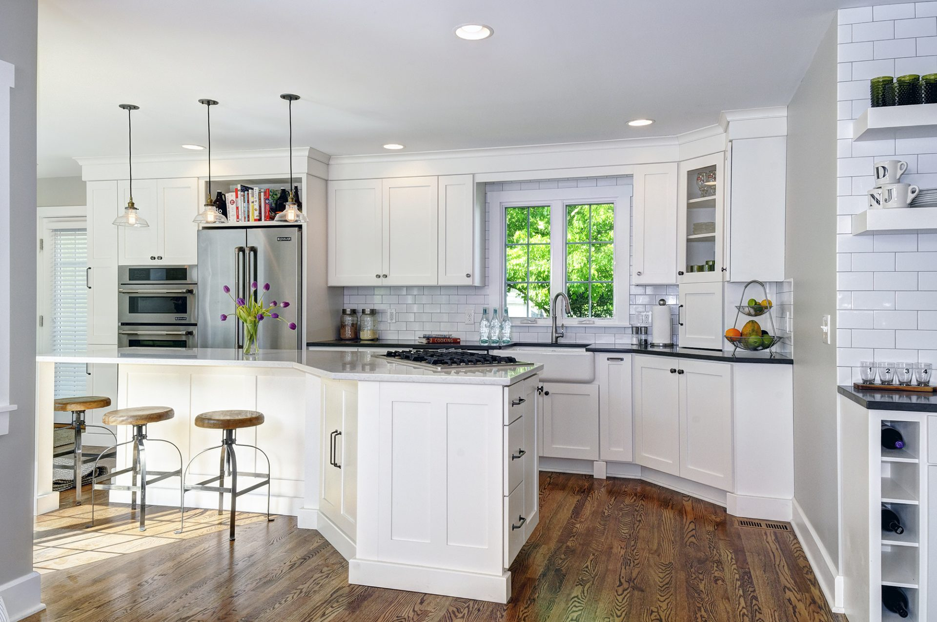 Kitchen renovation, room addition, Upper Arlington, Dave Fox, Remodel, white, subway tile, pendant lighting, farmhouse sink, wine racks, coffee bar