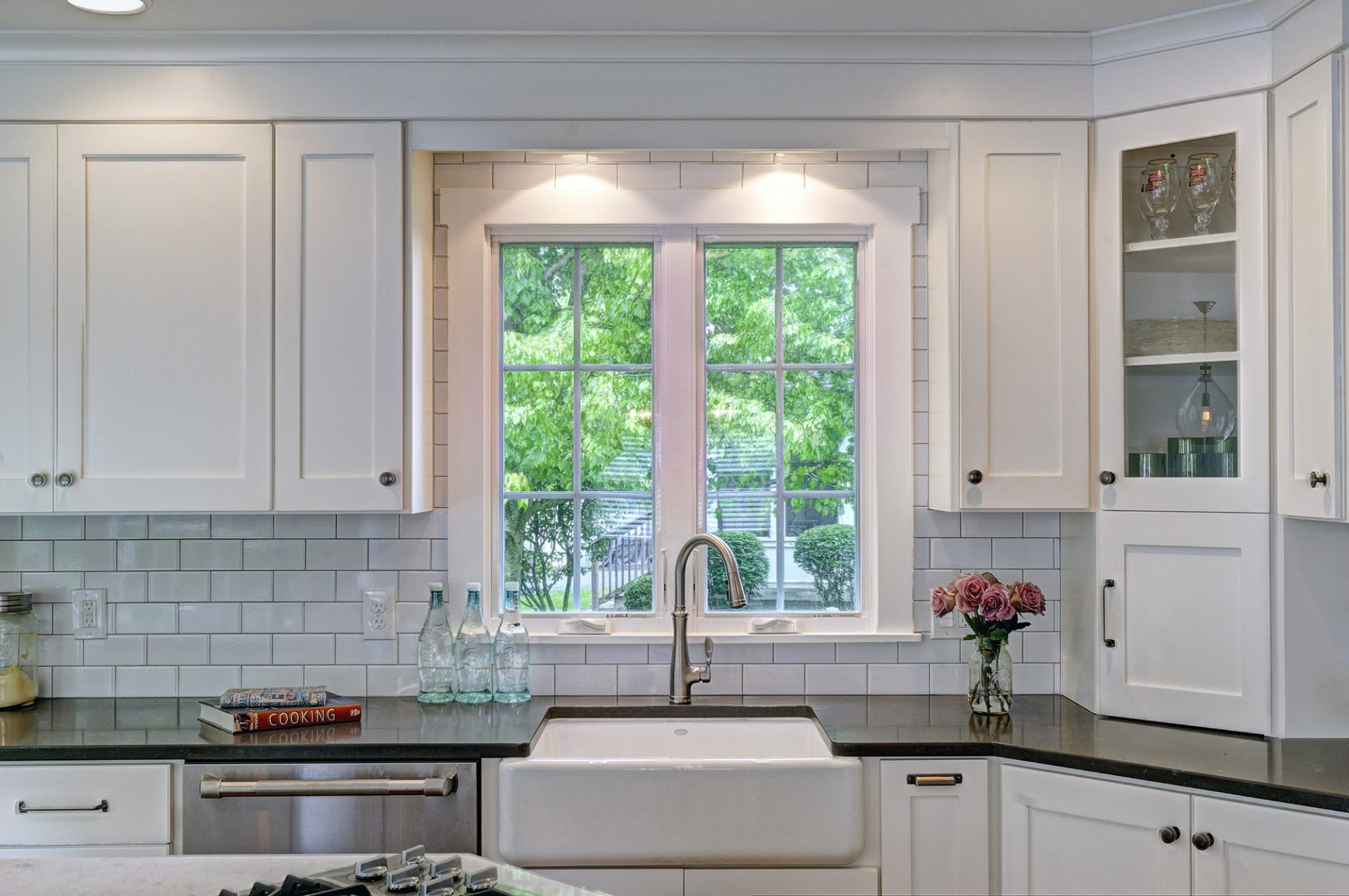 Kitchen remodel, room addition, Upper Arlington, Dave Fox, Remodel, white, subway tile, pendant lighting, farmhouse sink, wine racks, coffee bar