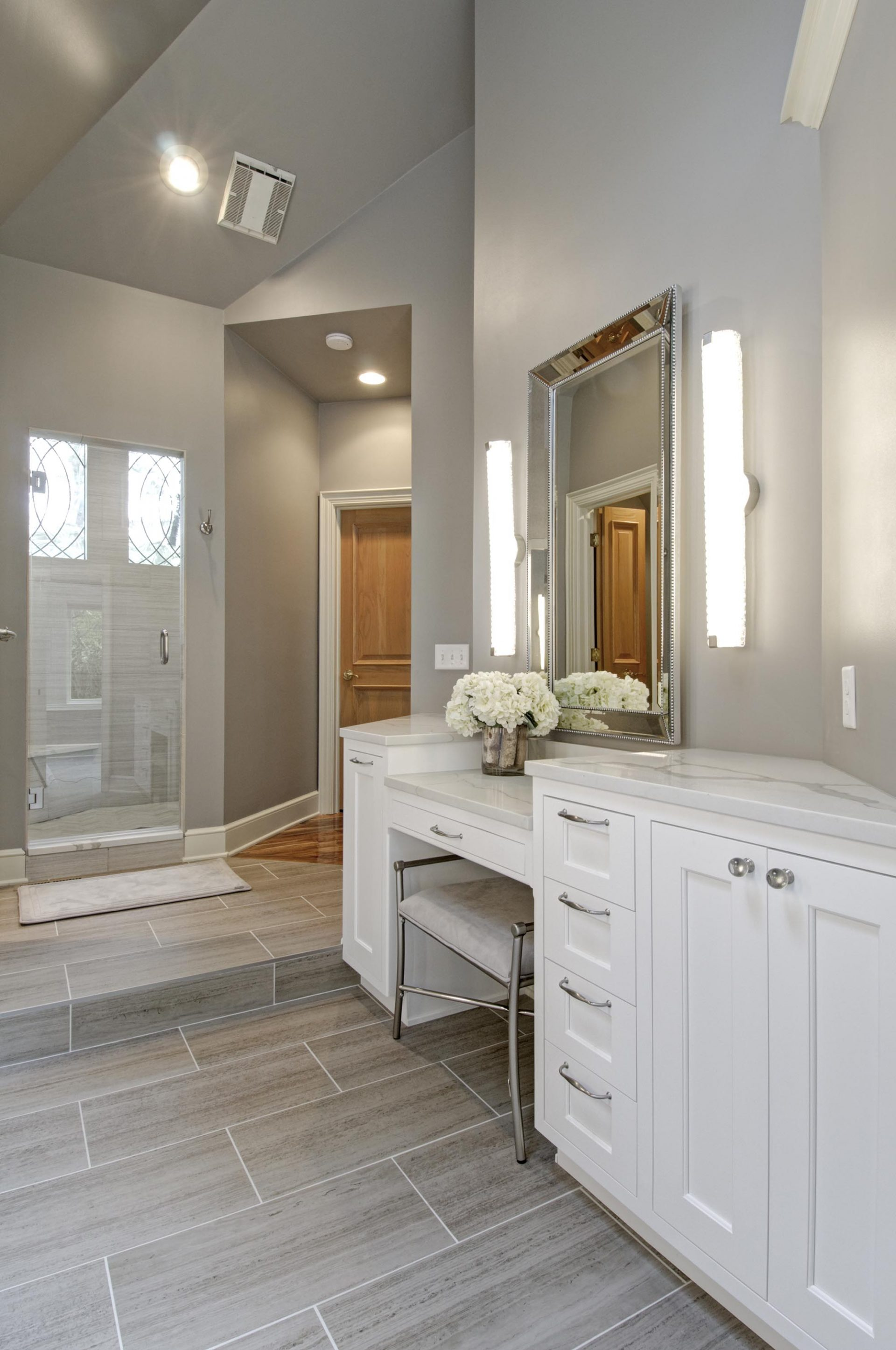 Master Bath, Dublin, Dave Fox, Remodel, freestanding tub, stacked tile, fireplace, quartz