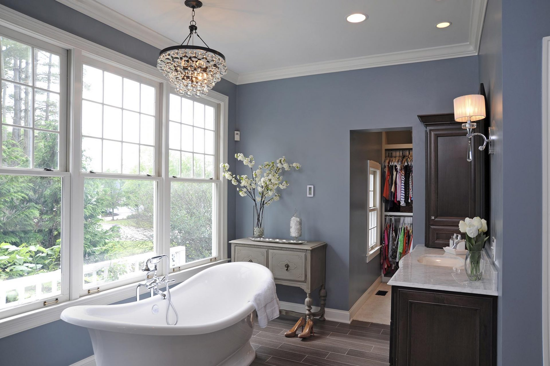 Master Bath, Westerville, Dave Fox, Remodel, freestanding tub, tub, trim, wood flooring, chandelier