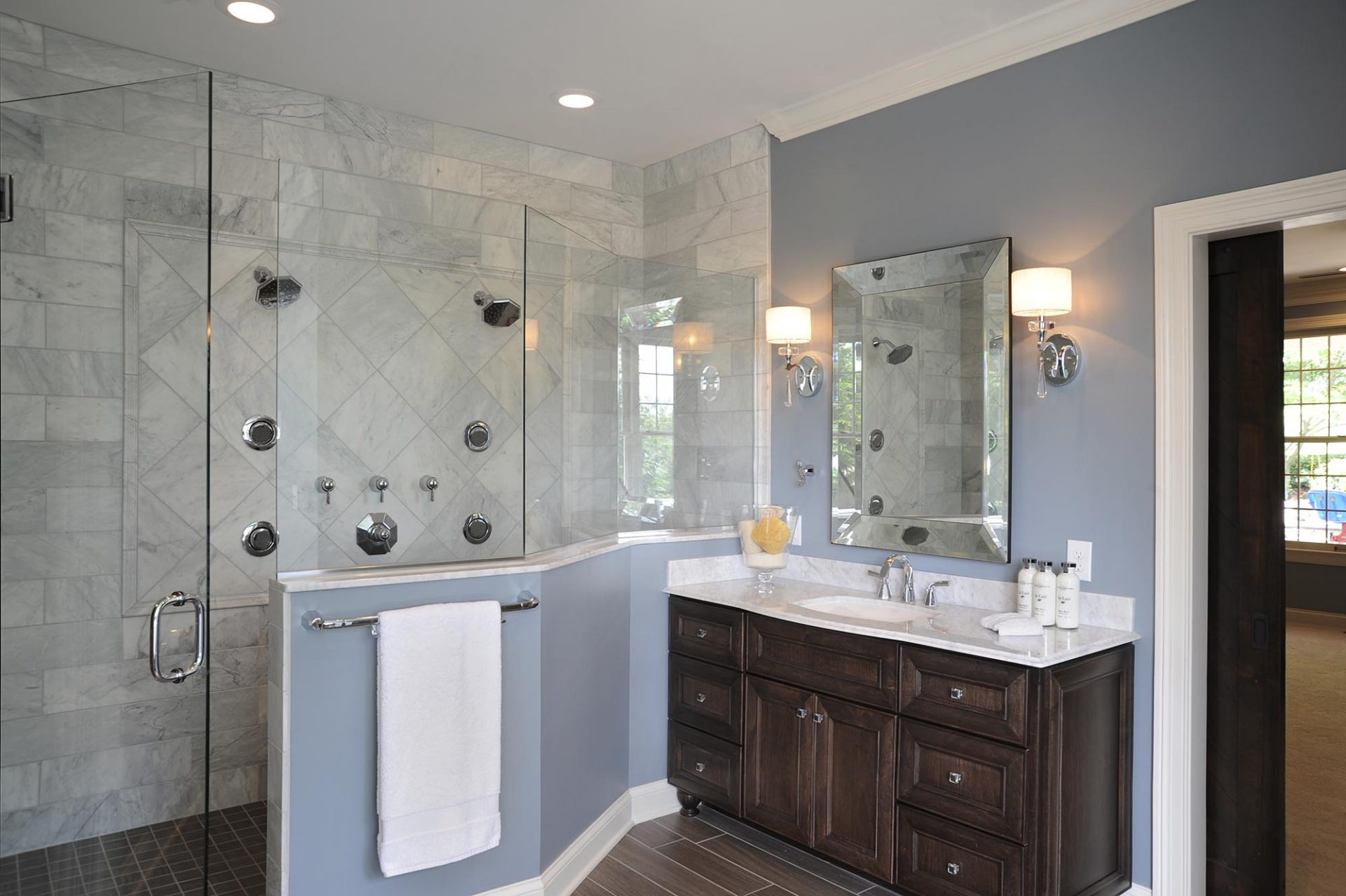 Master Bath, Westerville, Dave Fox, Remodel, freestanding tub,glass shower, trim, wood flooring, chandelier