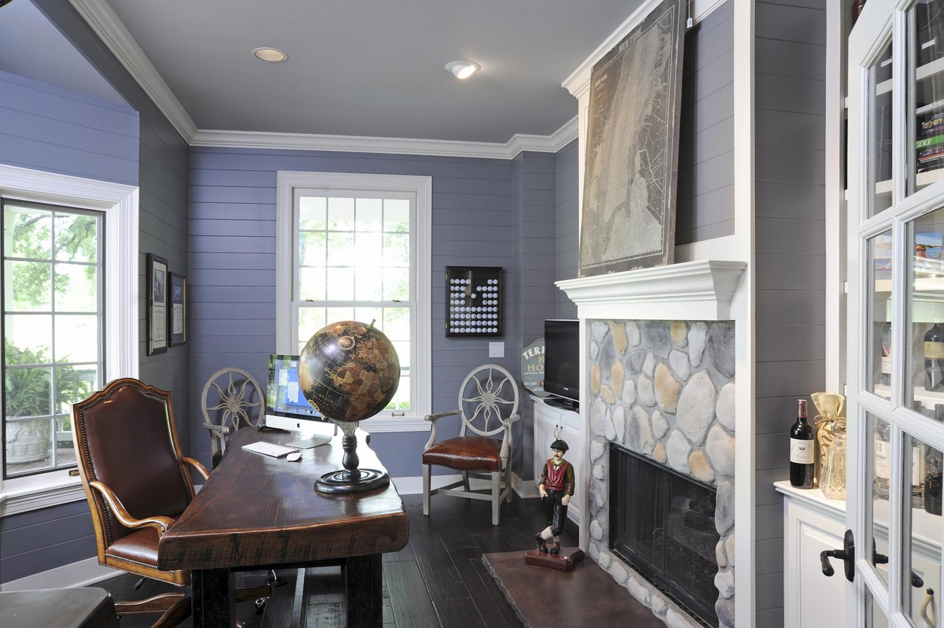 Office, Westerville, Dave Fox, Remodel, stone fireplace, trim, wood flooring, shiplap