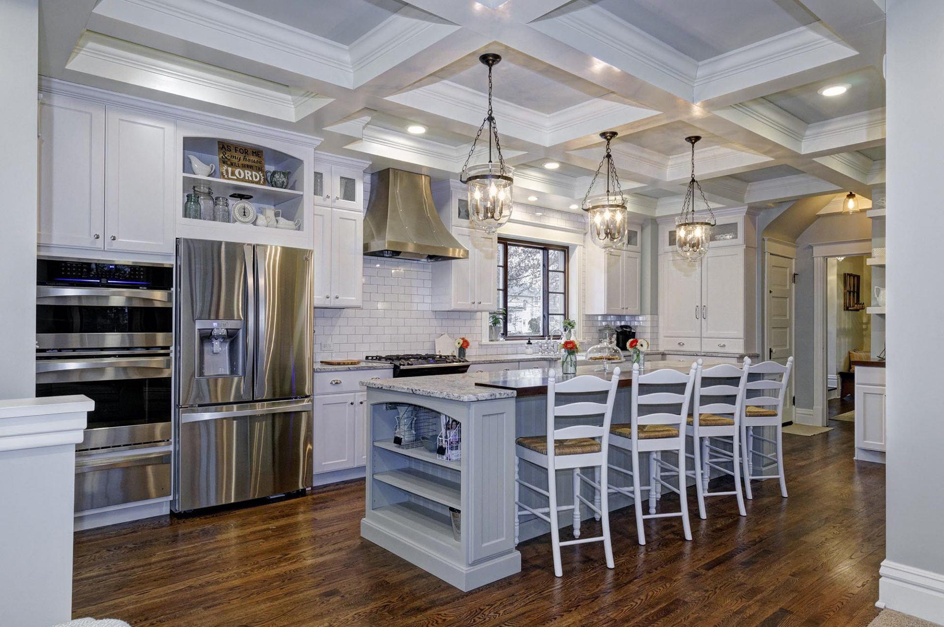 Room Addition, Worthington, Dave Fox, Remodel, Kitchen, island, granite, farm house, subway tile, range hood, white cabinets
