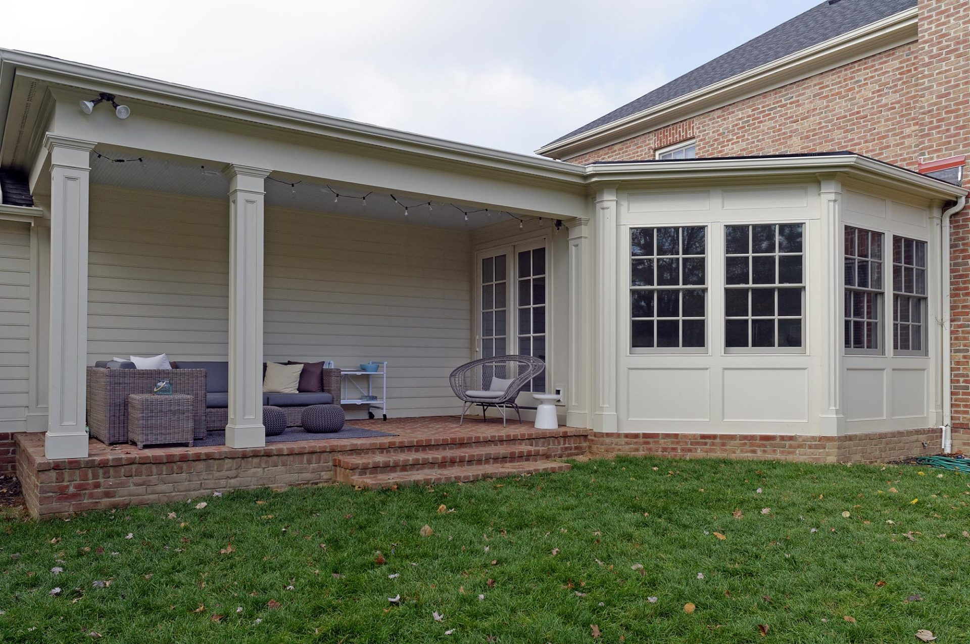 Room addition, sunroom, New Albany, Dave Fox, Remodel, white brick, hardwood floors, brick porch