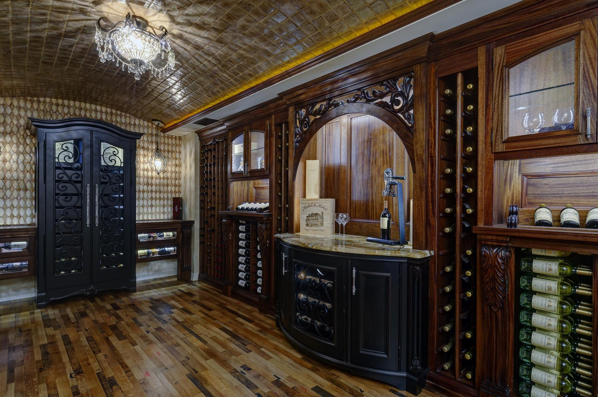 Wine cellar, Dublin, Dave Fox, Remodel, wine storage, arched ceiling, dark wood, wine boxes, chandelier, tile, iron doors