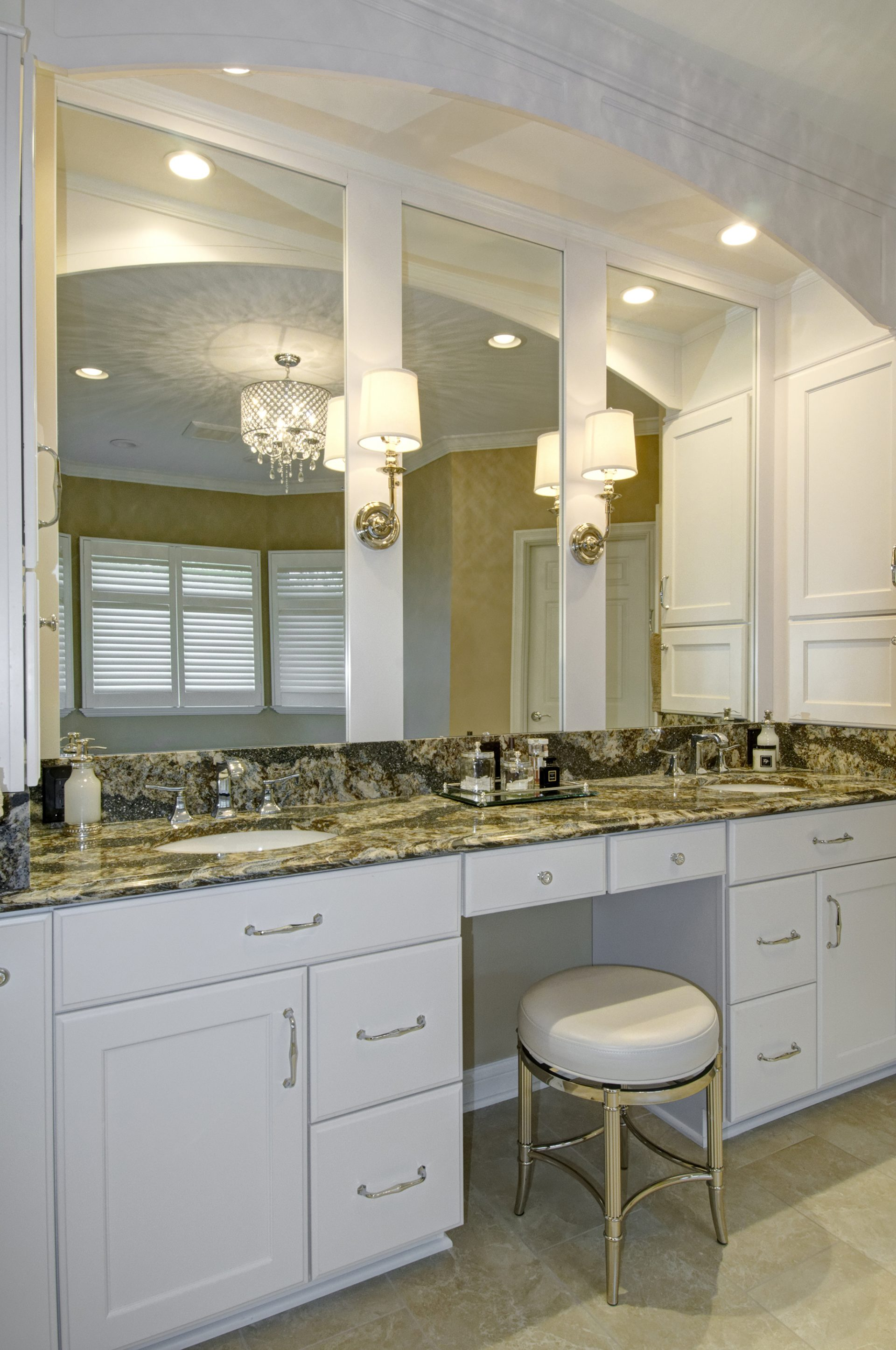 Master Bath, Dublin, Dave Fox, Remodel, cambria, quartz, dual vanity, double vanity, white cabinets, chandelier