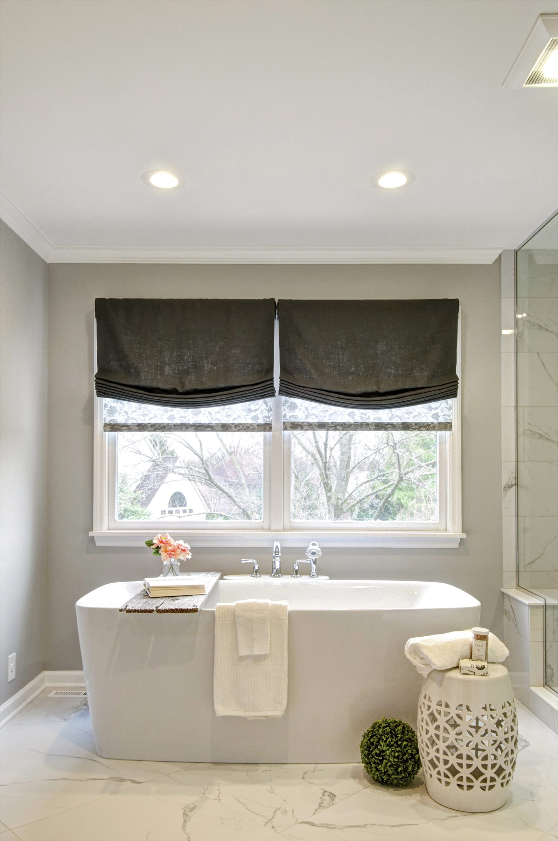 Master Bath, Upper Arlington, Dave Fox, Remodel, shades, freestanding tub, white, tile