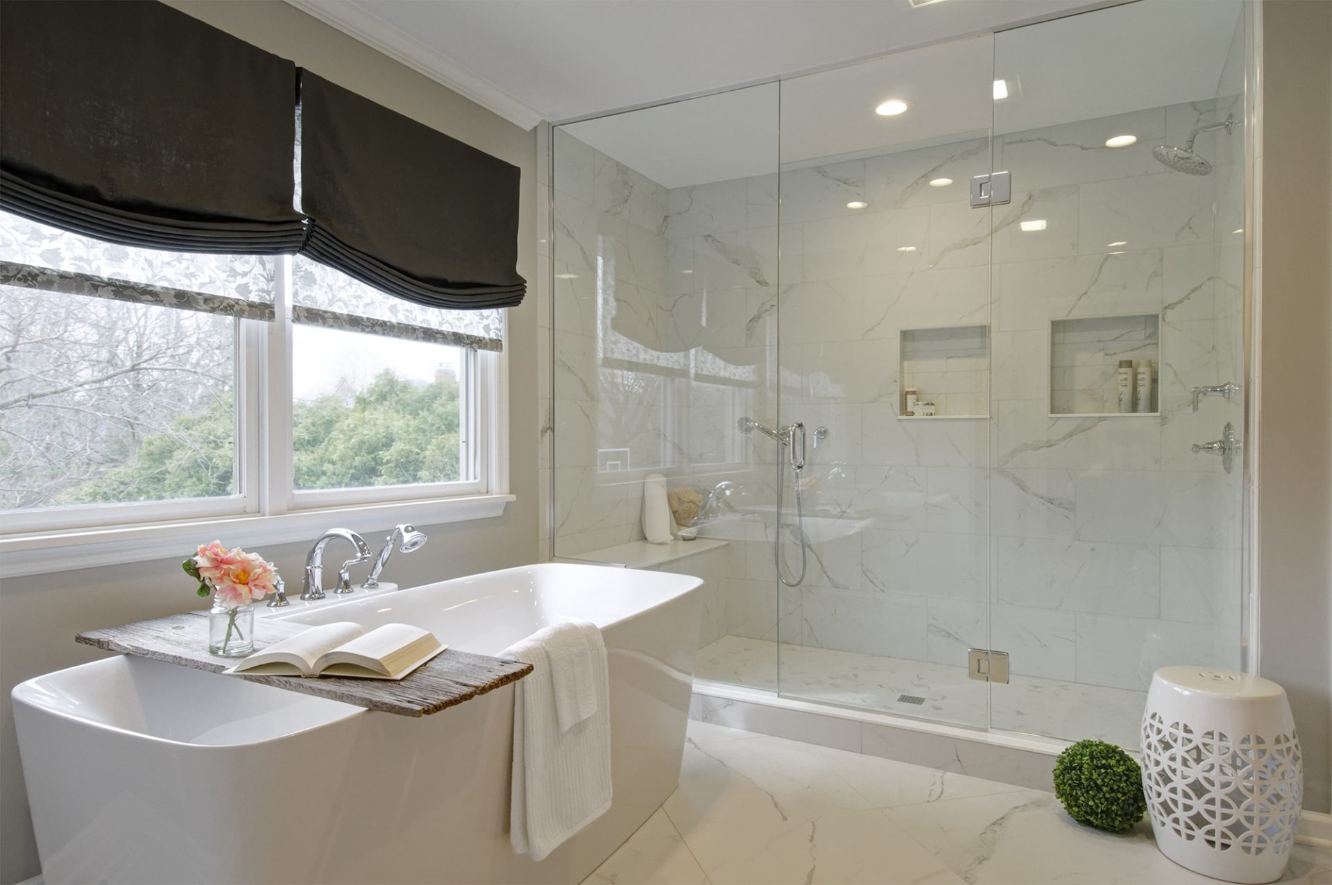 Master Bath, Upper Arlington, Dave Fox, Remodel, shades, freestand tub, white, tile , glass shower