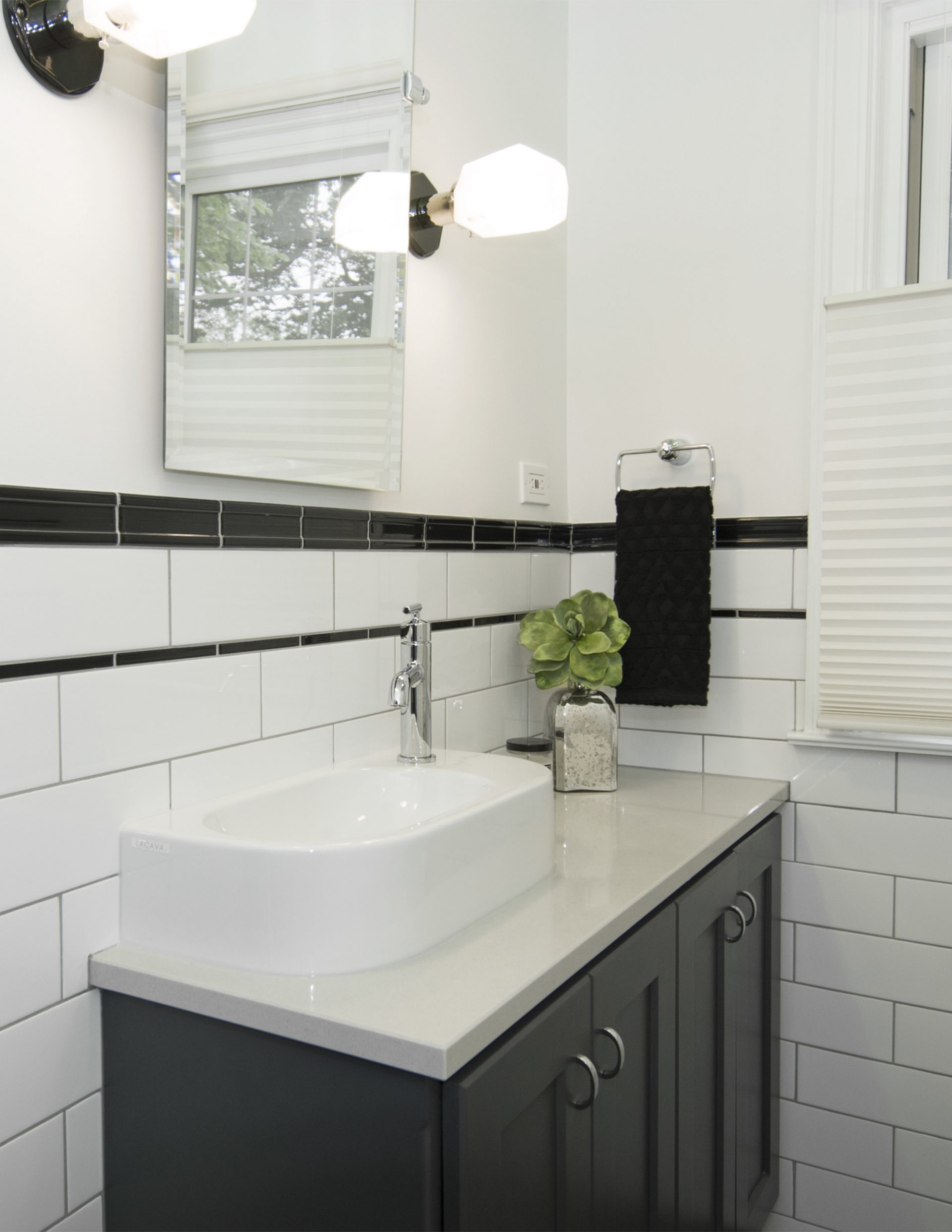 Bath, clintonville, Dave Fox,hall, subway tile, white, dark cabinets, black jolly tile