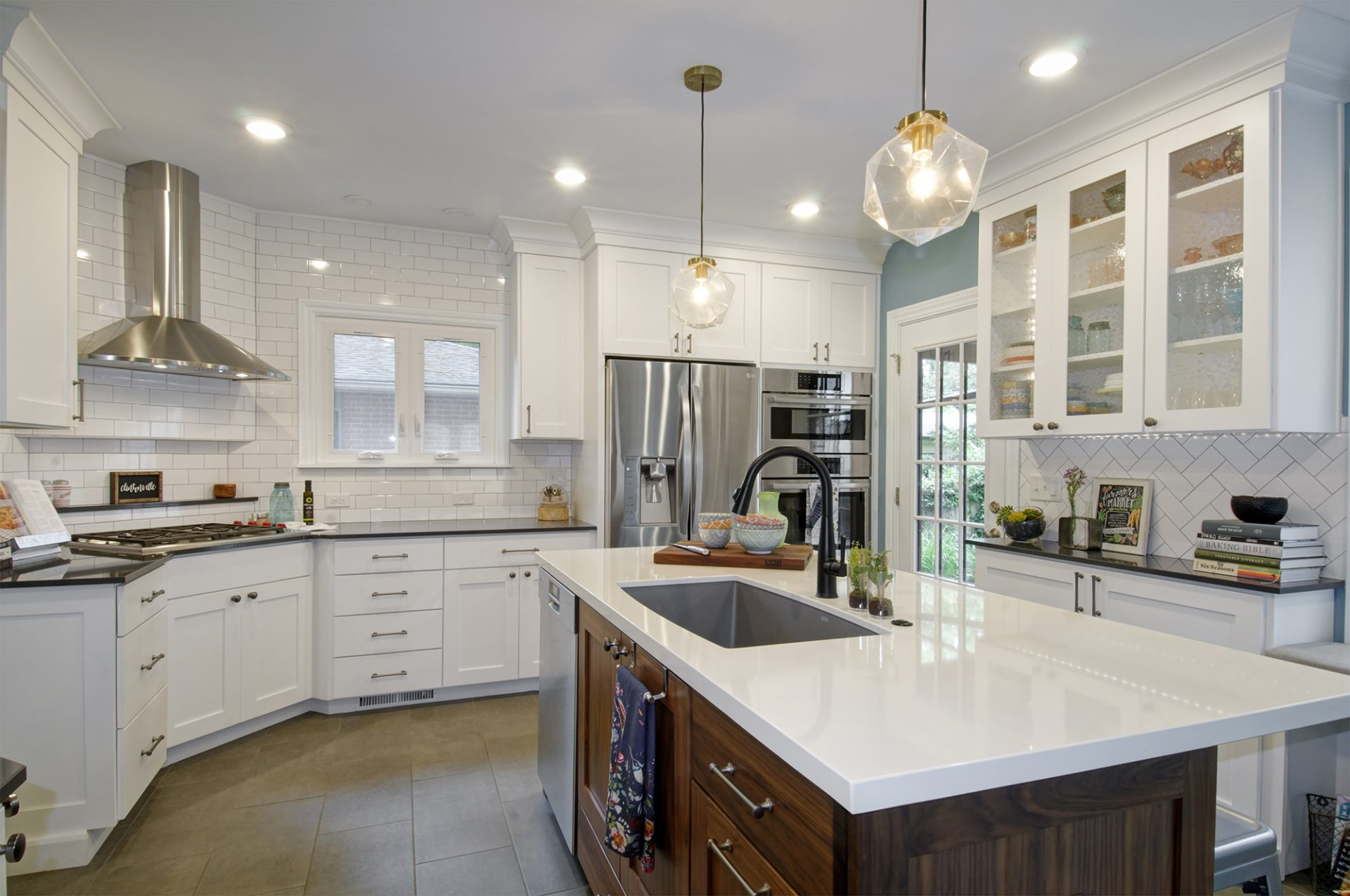 Kitchen, clintonville, Dave Fox, range hood, stainless steel, wood working island, pendent lights, white cabinets, subway tile