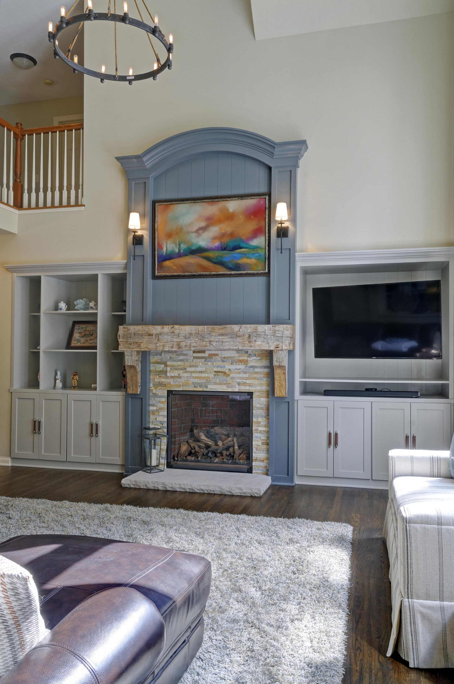 Fireplace, Living room, powell, Dave Fox, remodel, high ceilings, wood beam mantel, built ins, stacked stone