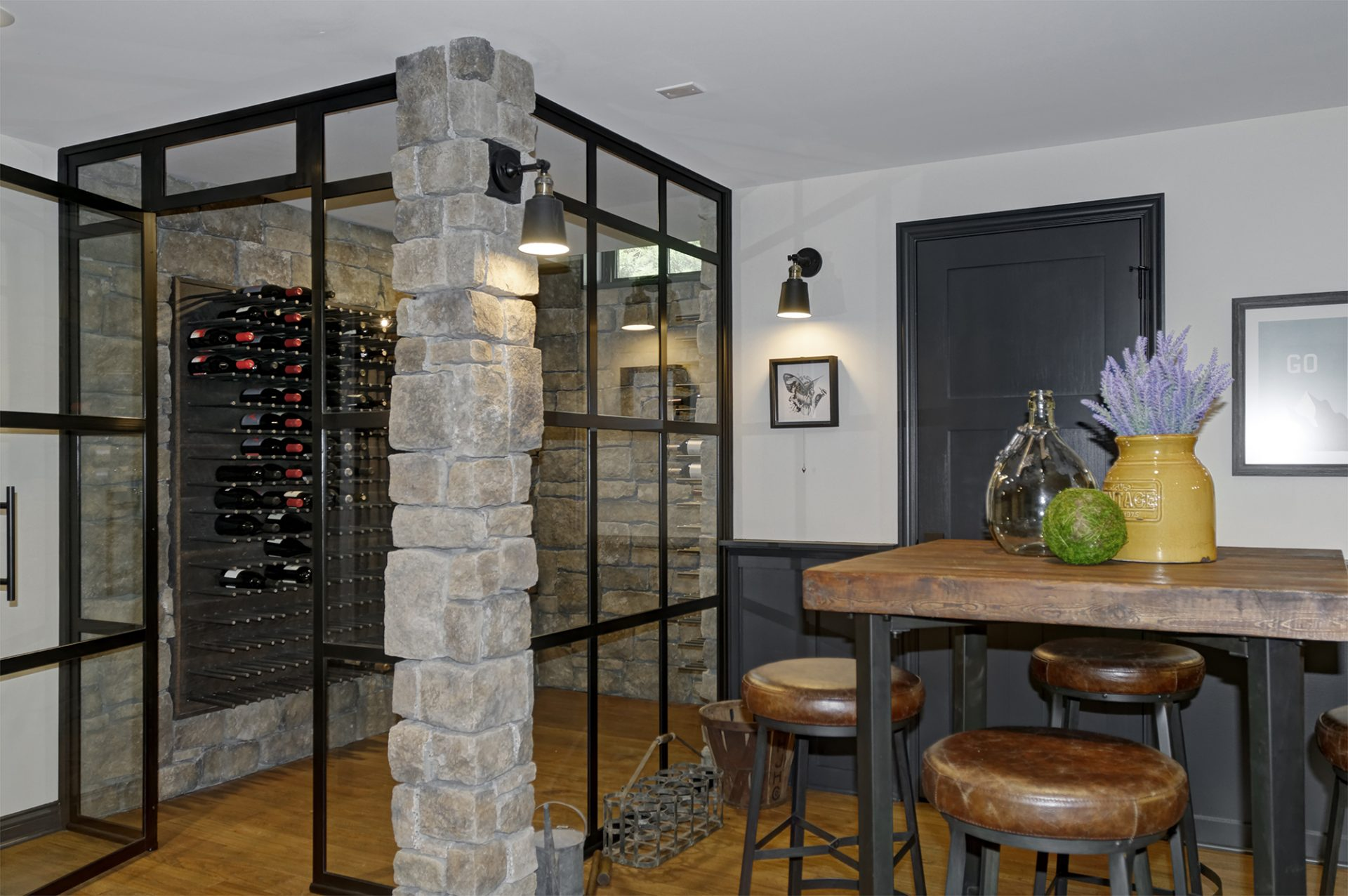 Basement, Columbus, Worthington, Dave Fox, Remodel, Wine cellar, custom wine rack, iron, stacked stone