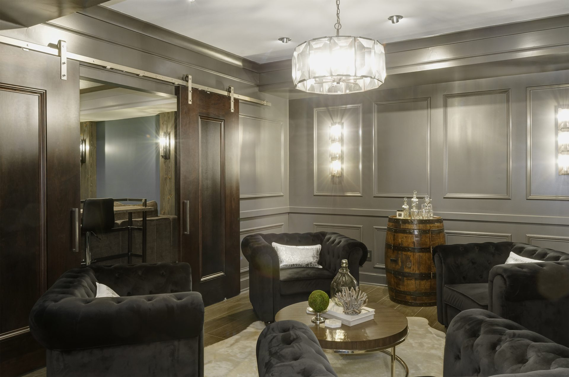 Basement, New Albany, Dave Fox, Remodel, bourbon lounge,wainscoting, trim