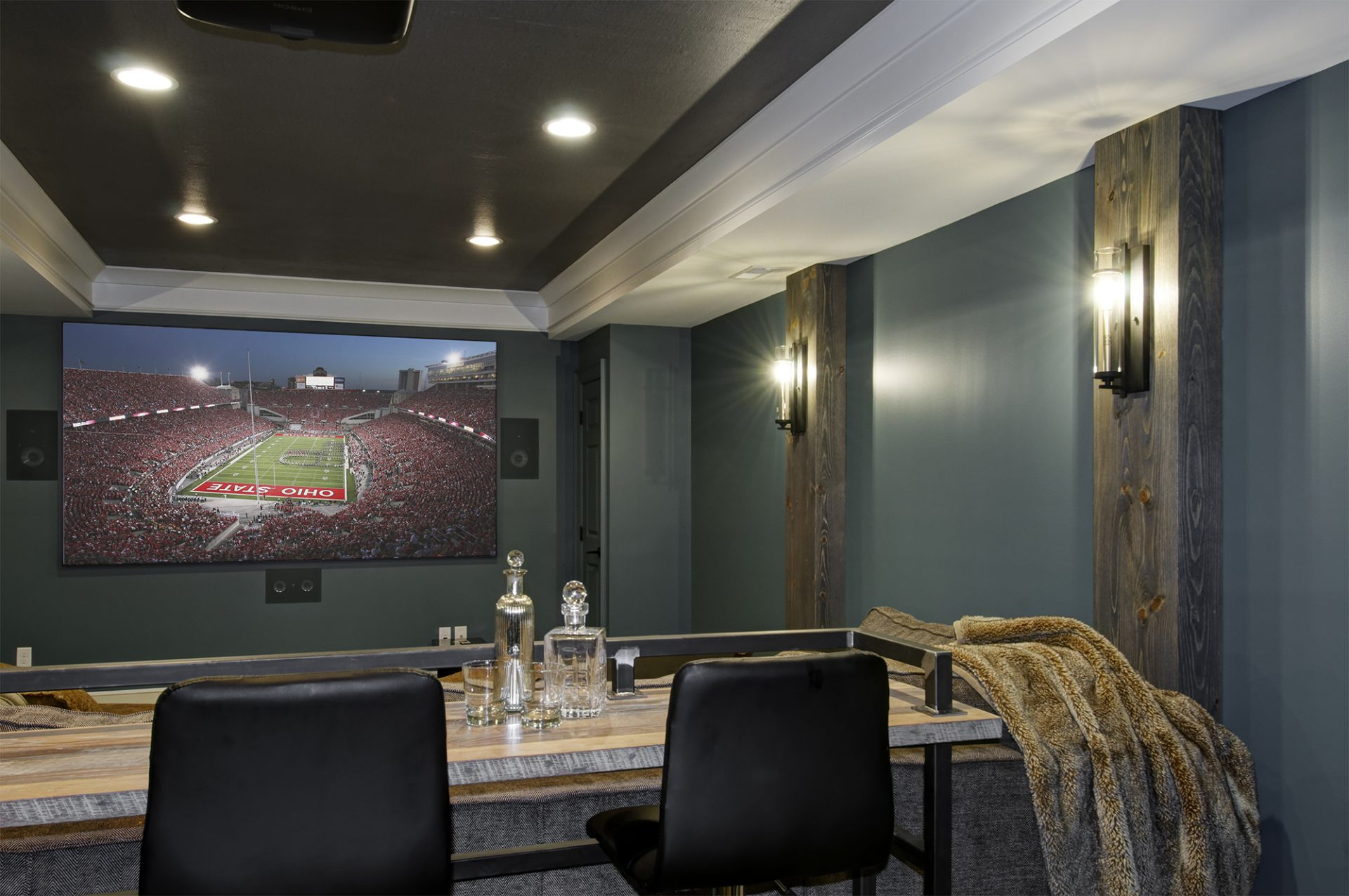 Basement, New Albany, Dave Fox, Remodel, movie theater, wood, basement design
