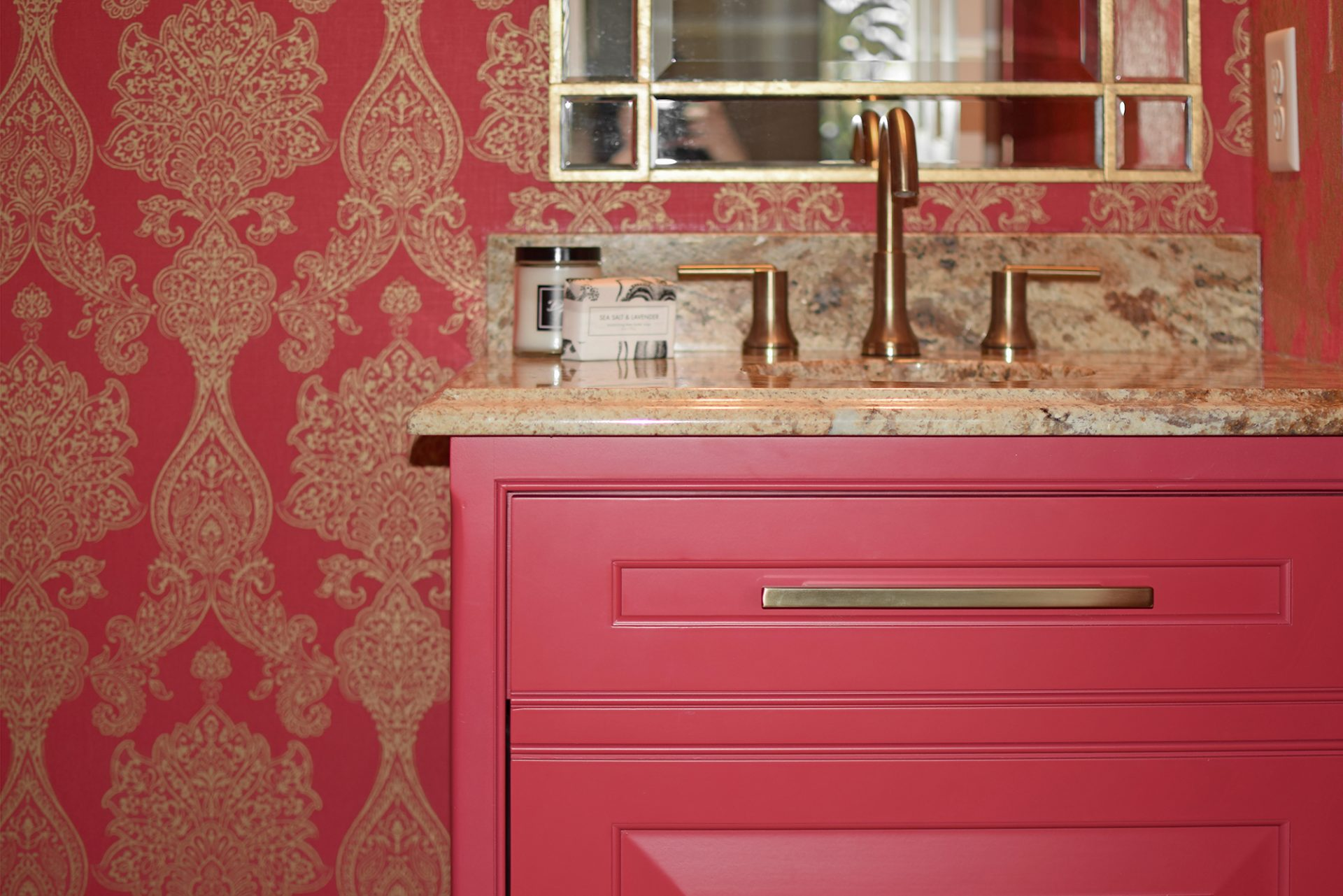Bath, Dublin, Dave Fox, Remodel, pink, wall covering, gold accents, custom cabinets, small bath