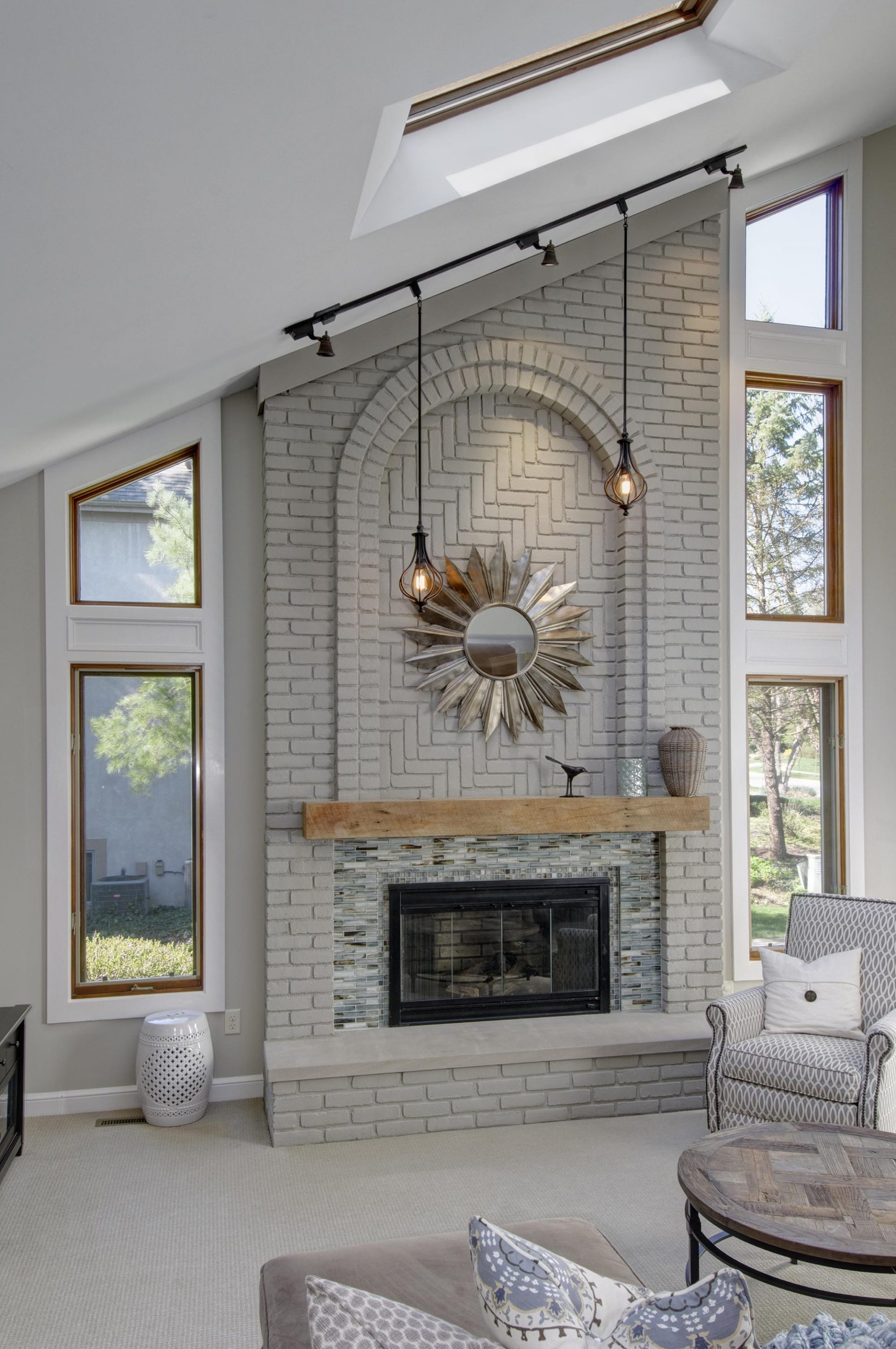 Fireplace, Dave Fox, Remodel,brick, painted brick, tile, decotile