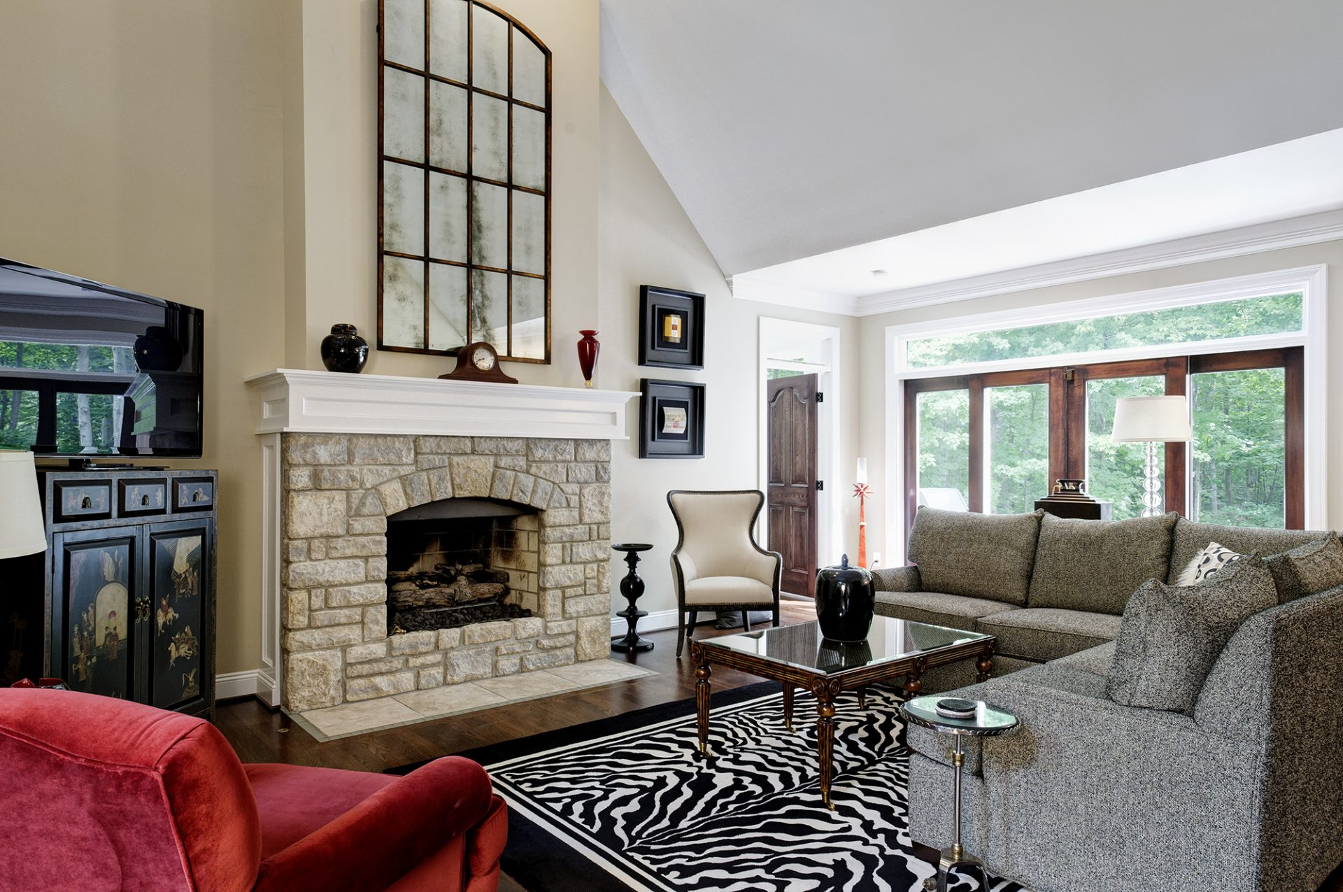 Fireplace, Living Room, Westerville, Dave Fox, Remodel, high ceilings, vaulted ceilings, stone, stacked stone