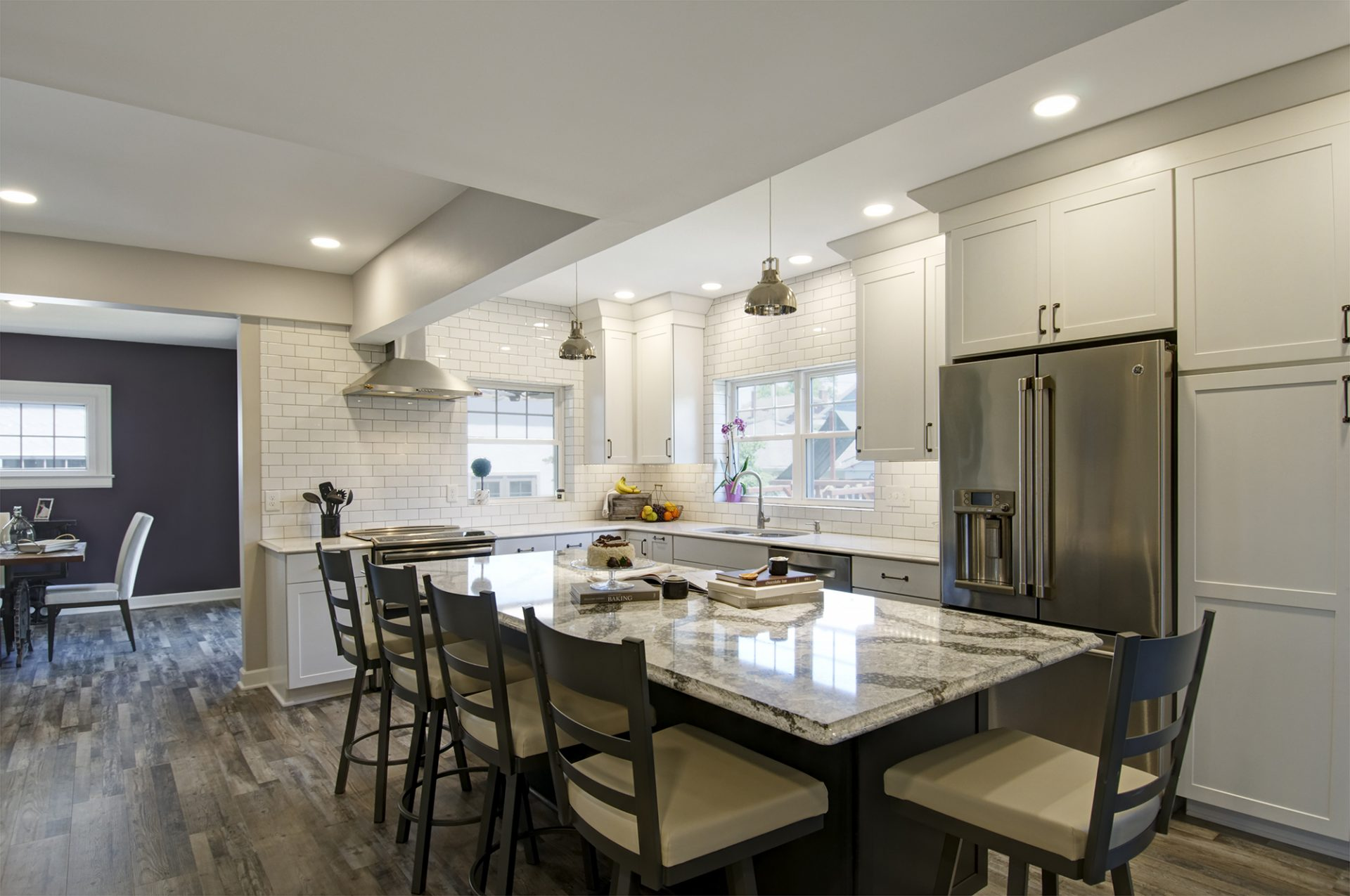 Kitchen, Bexley, Dave Fox, Remodel, island, cambria, quartz, white cabinets, LVT, pendant lights, range hood, subway tile
