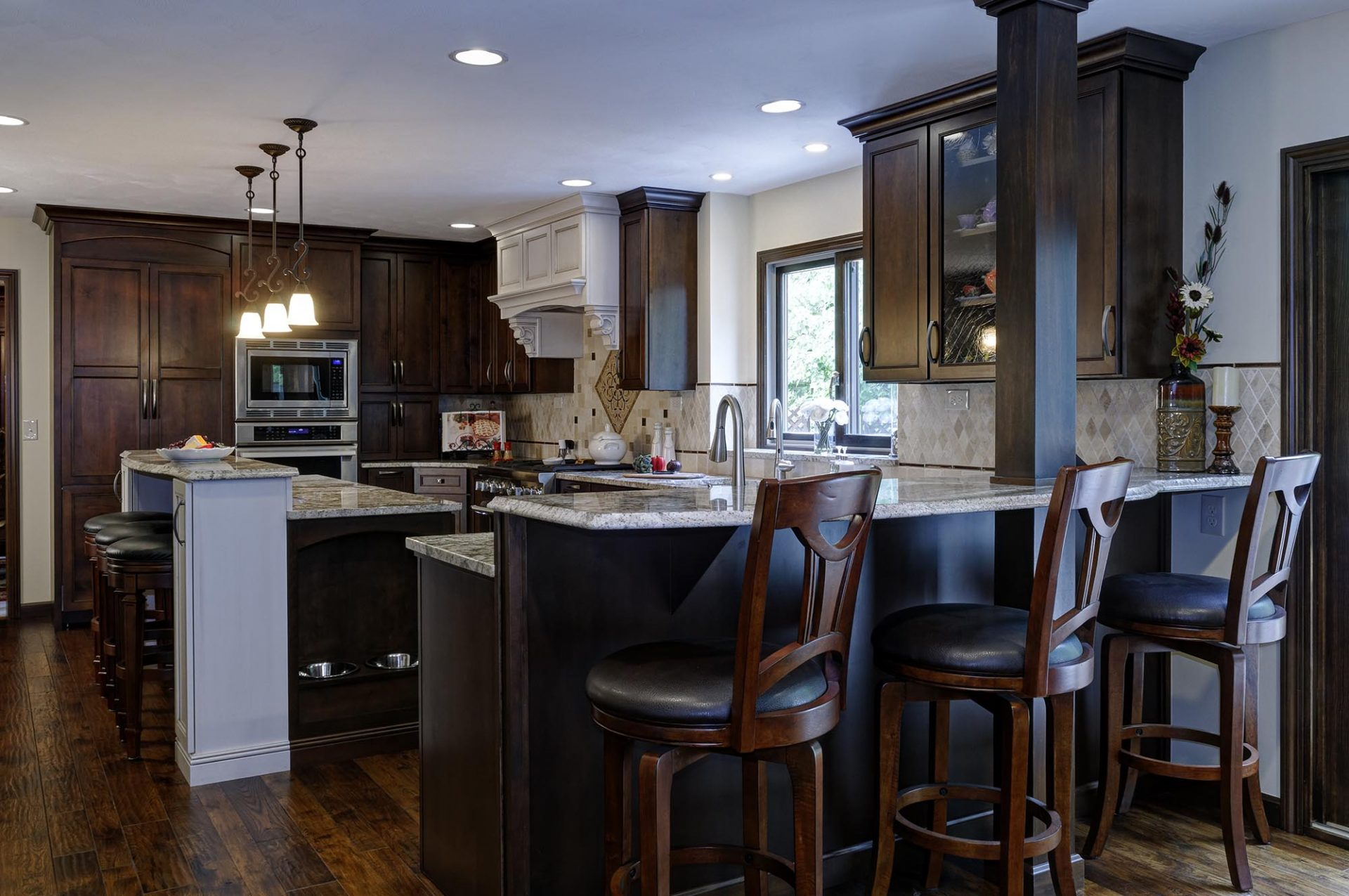 Kitchen, Columbus, Old Towne East, Dave Fox, Remodel, brick, marble tile, white cabinets, small kitchen, floating shelves