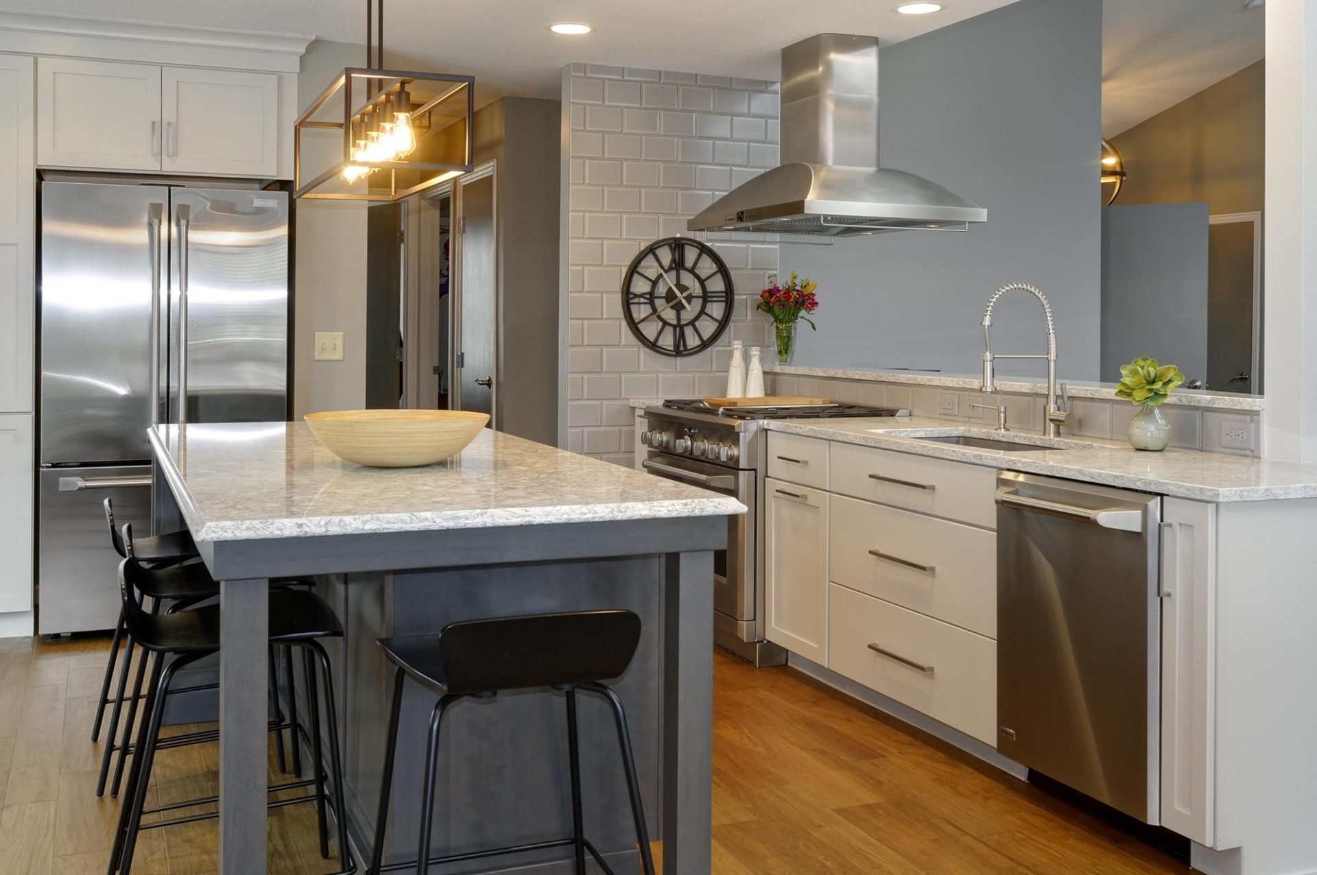 Kitchen, Pickerington, Dave Fox, Remodel, white cabinets, island, lighting, range hood, granite, dining room, pass through, coffee bar, subway tile, farmhouse