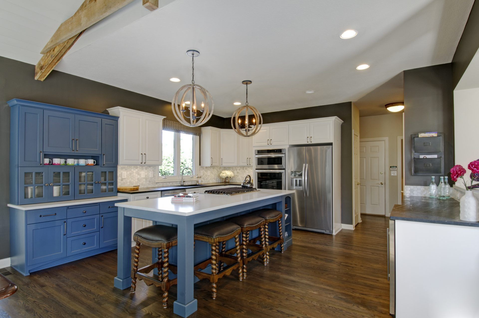 Kitchen, Powell, Dave Fox, Remodel, wood beams, large island, chandelier, wood floors, blue cabinets, shiplap, farmhouse, hexagon tile