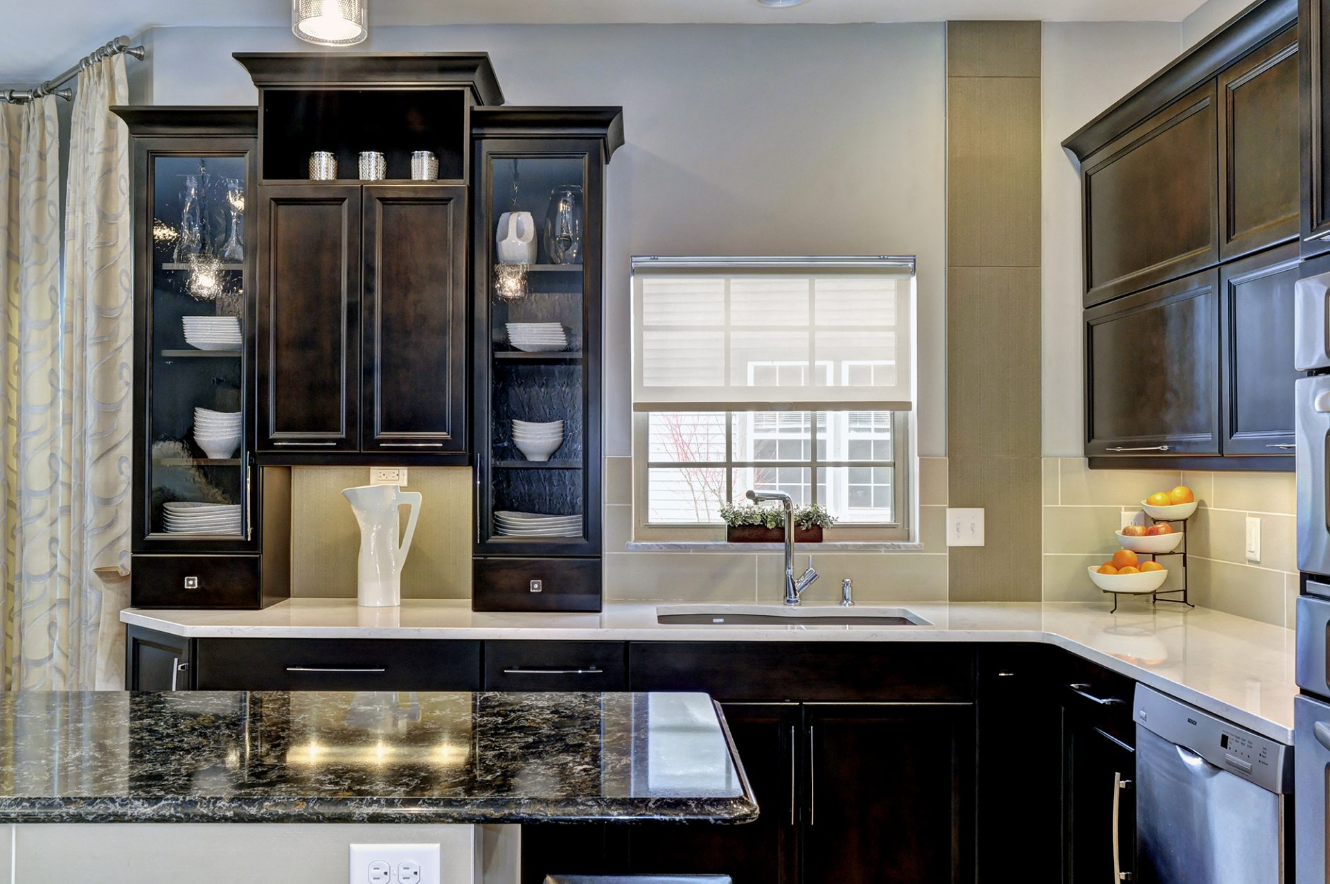 Kitchen, Westerville, Dave Fox, Remodel, black cabinets, large island, flat top range, coffee bar, granite
