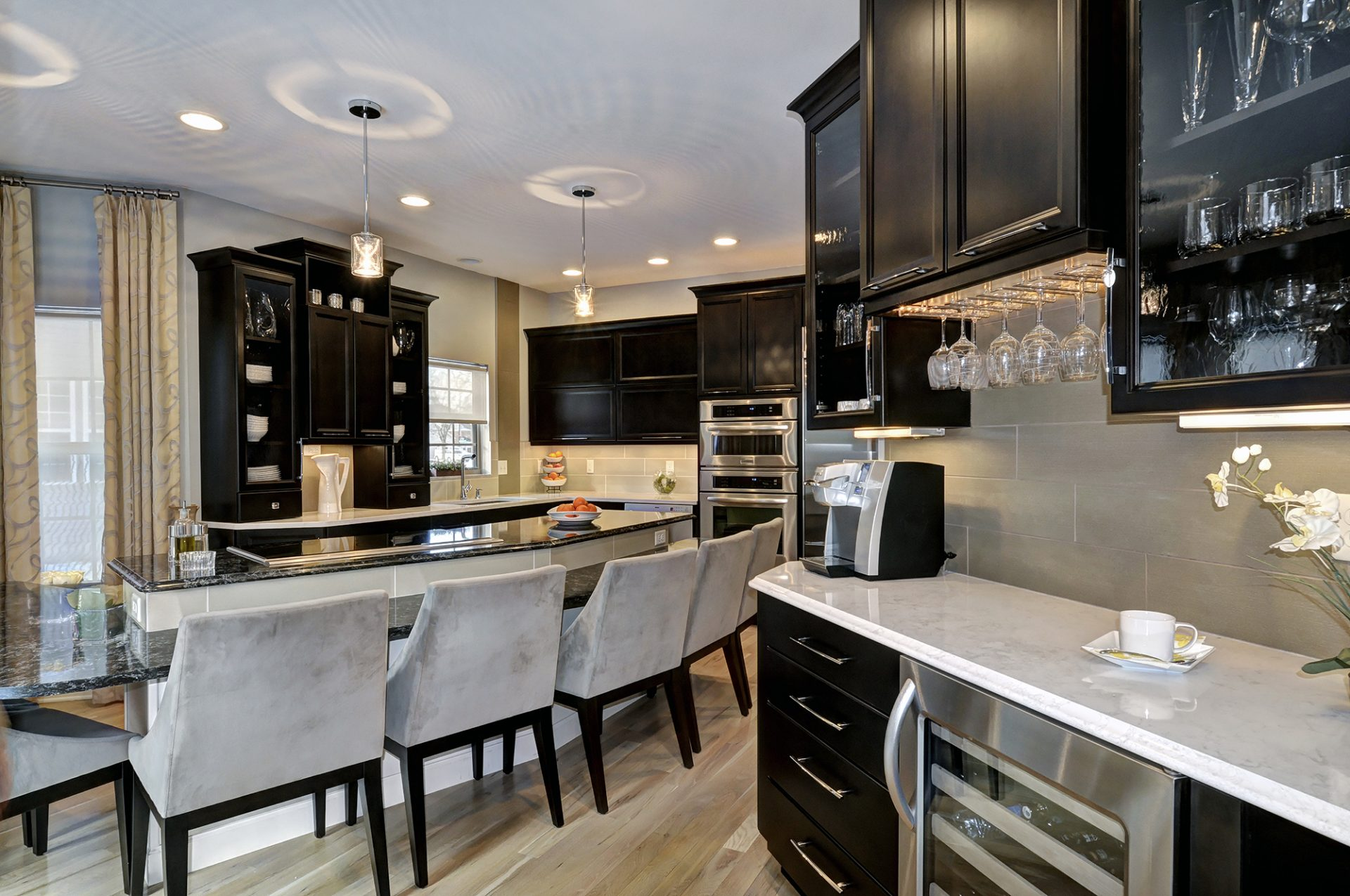 Kitchen, Westerville, Dave Fox, Remodel, black cabinets, large island, flat top range, coffee bar, granite,