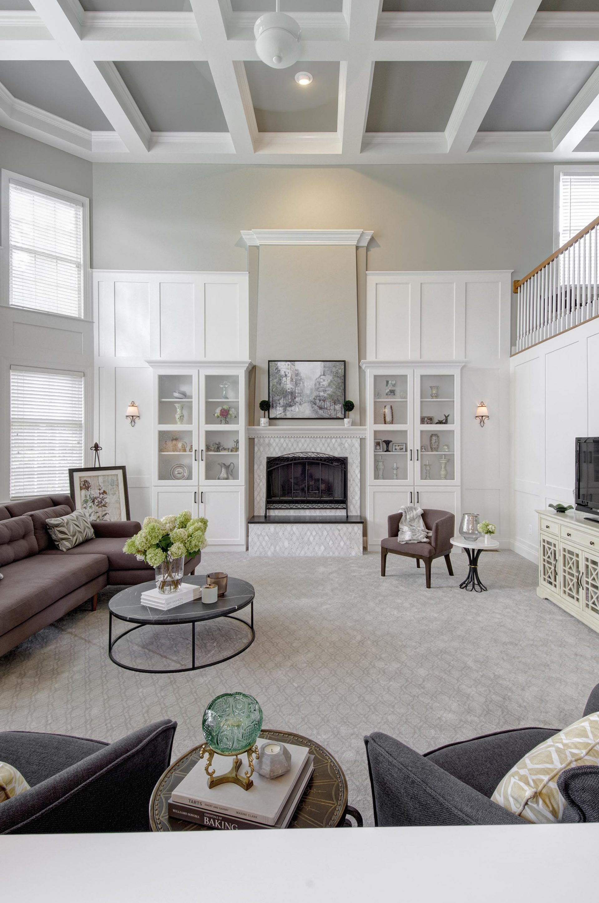 Living Room, Dublin, Dave Fox, Remodel, wainscoting, coffered ceilings, fireplace, tile