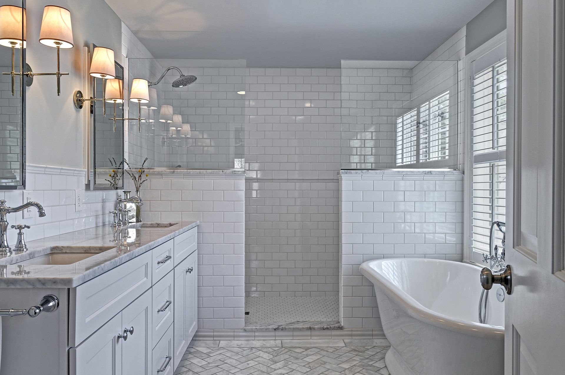 Master bath, Upper Arlington, Dave Fox, Remodel, tile, herringbone, marble, walk in shower, hexagon tile, bath tub, freestanding tub