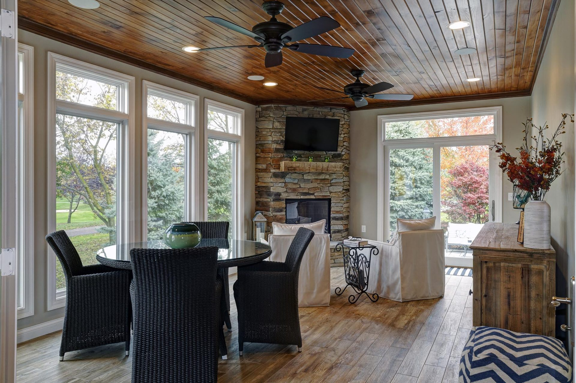 Room Addition, Sun room, New Albany, Dave Fox, Remodel, stone fireplace, wood floors, wood mantel