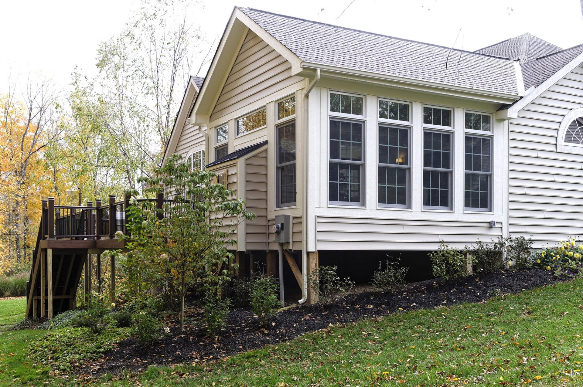 Room Addition, exterior, Sunroom, porch, Dave Fox, Remodel, deck, stairs, patio, siding