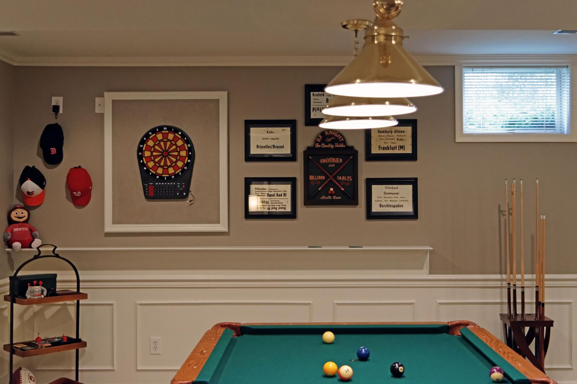 Basement, Dublin, Dave Fox, Remodel, bar, wine storage, wainscoting, pool table, granite