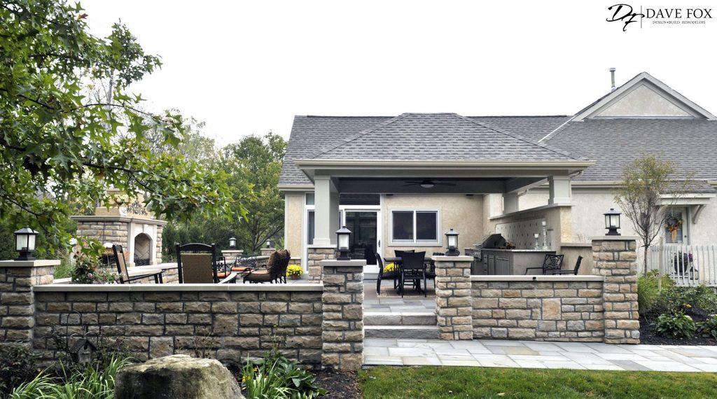 Exterior-room-addition-Hilliard-landscape-stone-outdoor-fireplace-grill-pergola