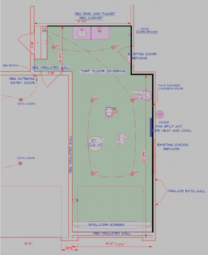 residential remodeling golf simulation room plans